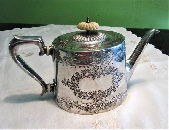Victorian Silver Teapot Boardman Glossop Silver Plate 1860s Etsy