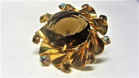 Huge Pinwheel Smoky Topaz Brooch Gold Tone