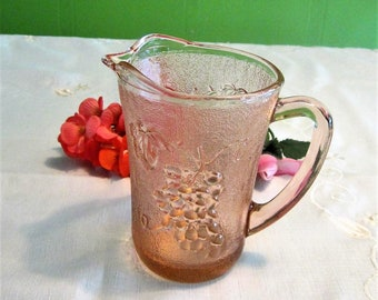 Pink Glass Creamer KIG Glassware 1970s Glass Syrup Pitcher Grape Vine Embossed Glass