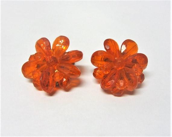 Orange Bead Clip On Earrings 1950s Orange Clip Ons