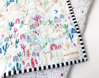 Serendipity Unicorn Modern Baby Quilt-Wholecloth Baby Girl Quilt-Baby Quilt Blanket-Boho Baby Quilt, Indie Baby Quilt