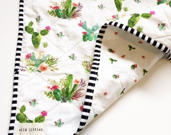 Modern Wholecloth Baby Quilt-Modern Baby Girl Quilt-Baby Quilt Blanket- Cactus Floral Baby Quilt, Boho Baby Quilt, Indie Baby Quilt