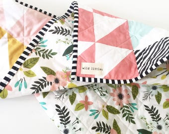 Pink Puzzlecloth Modern Wholecloth Baby Quilt-Modern Baby Girl Quilt-Floral Baby Quilt, Boho Baby Quilt, Indie Baby Quilt