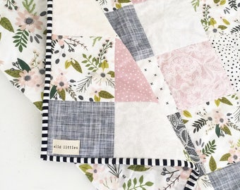 Lavender Puzzlecloth Modern Wholecloth Baby Quilt-Baby Girl Quilt-Baby Quilt Blanket-Floral Baby Quilt, Boho Baby Quilt, Indie Baby Quilt