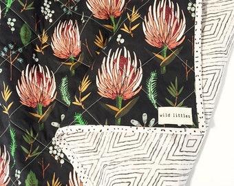 Garden Amora Floral Wholecloth Baby Quilt-Modern Baby Girl Quilt-Handmade Baby Quilt-Floral Crib Quilt