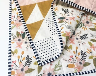 Peach Puzzlecloth Modern Baby Quilt-Wholecloth Baby Girl Quilt-Baby Quilt Blanket-Floral Baby Quilt, Boho Baby Quilt, Indie Baby Quilt