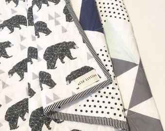 Bear Puzzlecloth Modern Wholecloth Baby Quilt-Baby Boy Quilt-Baby Quilt Blanket-Woodland Baby Quilt, Indie Baby Quilt-Navy, Mint, Grey