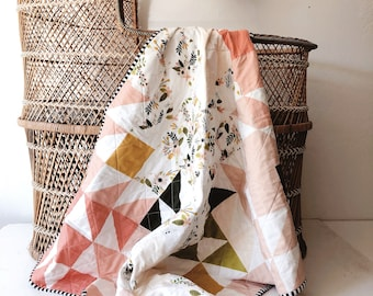 Forest Blush Puzzlecloth Modern Wholecloth Baby Quilt-Baby Girl Twin Quilt-Baby Blanket-Floral Baby Quilt, Boho Baby Quilt, Indie Baby Quilt
