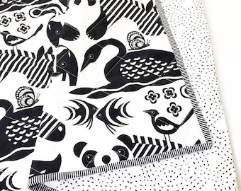 Modern Wholecloth Baby Quilt-Gender Neutral Quilt-Baby Quilt Blanket-Black and White Animal Print Baby Quilt, Boho Baby Quilt-Monochrome