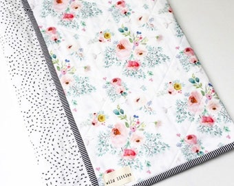Modern Wholecloth Baby Quilt-Modern Baby Girl Quilt-Baby Quilt Blanket-Floral Baby Quilt, Boho Baby Quilt, Indie Baby Quilt