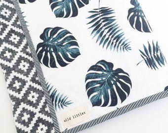 Love from Bali Palm Quilt-Modern Baby Quilt for Sale-Exclusive Palm Print-Toddler Quilt-Handmade Crib Quilt-Gender Neutral Baby Quilt