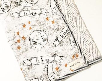 LaLuna Monochrome Modern Wholecloth Baby Quilt-Boho Baby Quilt-Handmade Baby Quilt, Indie Baby Quilt