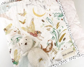 Bunny Prince + Fairy Modern Wholecloth Baby Quilt-Baby Girl Quilt-Baby Quilt Blanket-Floral Baby Quilt, Boho Baby Quilt, Indie Baby Quil