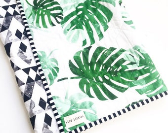 Palm Springs Modern Baby Quilt-Monochrome Mountains-Toddler Quilt-Handmade Crib Quilt-Gender Neutral Baby Blanket-Baby Quilt for Sale