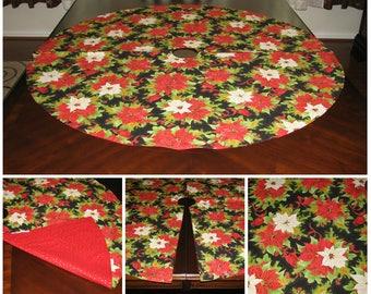 Xmas tree skirt Gold tree skirt Red tree skirt Christmas tree skirt Poinsettia tree skirt Christmas decoration Xmas decor