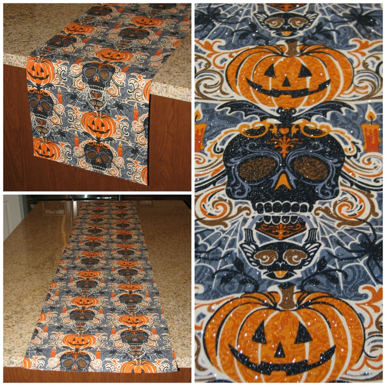 Jack O Lantern Halloween Decor Sparkly Party Runner Etsy