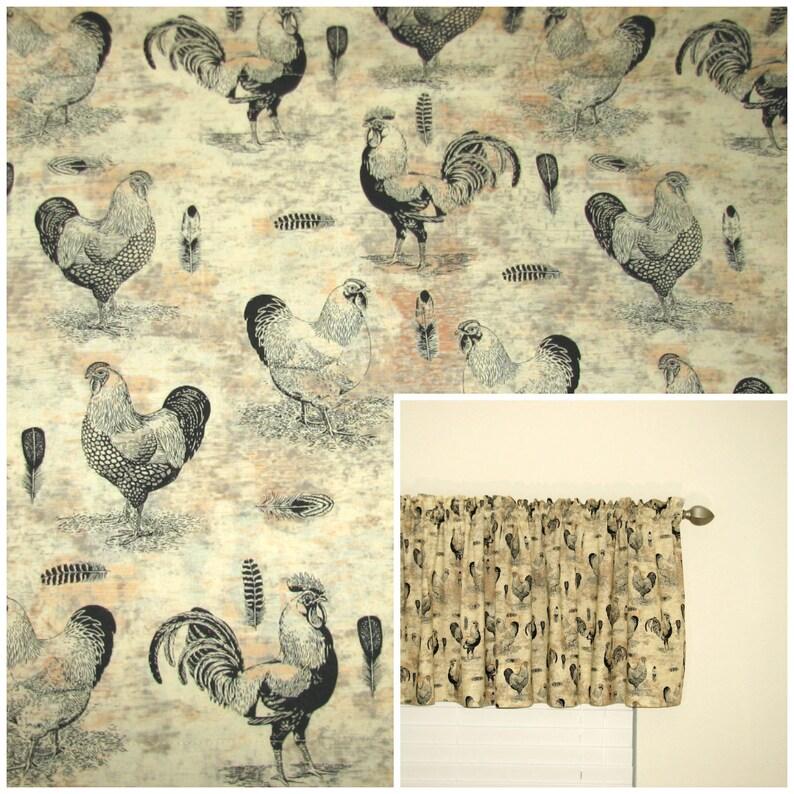 Chicken curtains, Farmhouse style curtains, Farmhouse kitchen valance,  Farmhouse kitchen curtain, Bathroom valance, Rod pocket valance