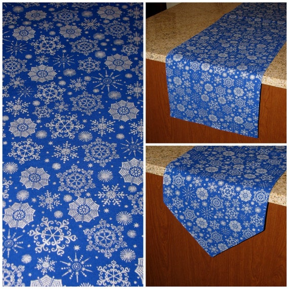 Blue Christmas Table Runner Snowflake Table Decor Silver Snowflake Decor Silver Table Runner Winter Theme Party