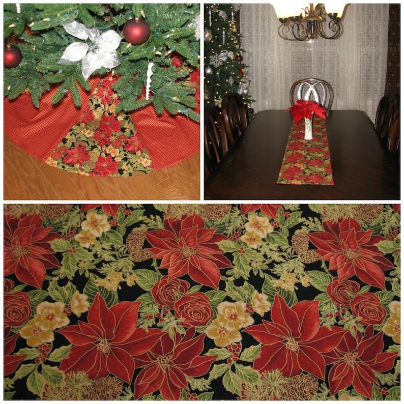 Red Tree Skirt Christmas Table Runner Gold Christmas Tree Skirt Christmas Decorations Indoor Poinsettia Christmas Decor Table Decor