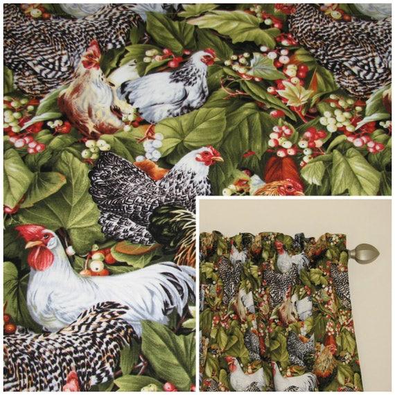 Farmhouse curtains, Rooster valance, Farmhouse valance, Chicken curtains,  Kitchen curtains, Kitchen valance, Window valance