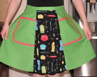 Retro apron Half apron Women's apron Woman apron 1950s Retro apron Cooking apron Xmas gift-for-sister Half apron woman Gift-for-her