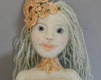 Art Doll, Pacifica: Mermaid of the Pacific Ocean, Needle felt Art Doll, Mermaid