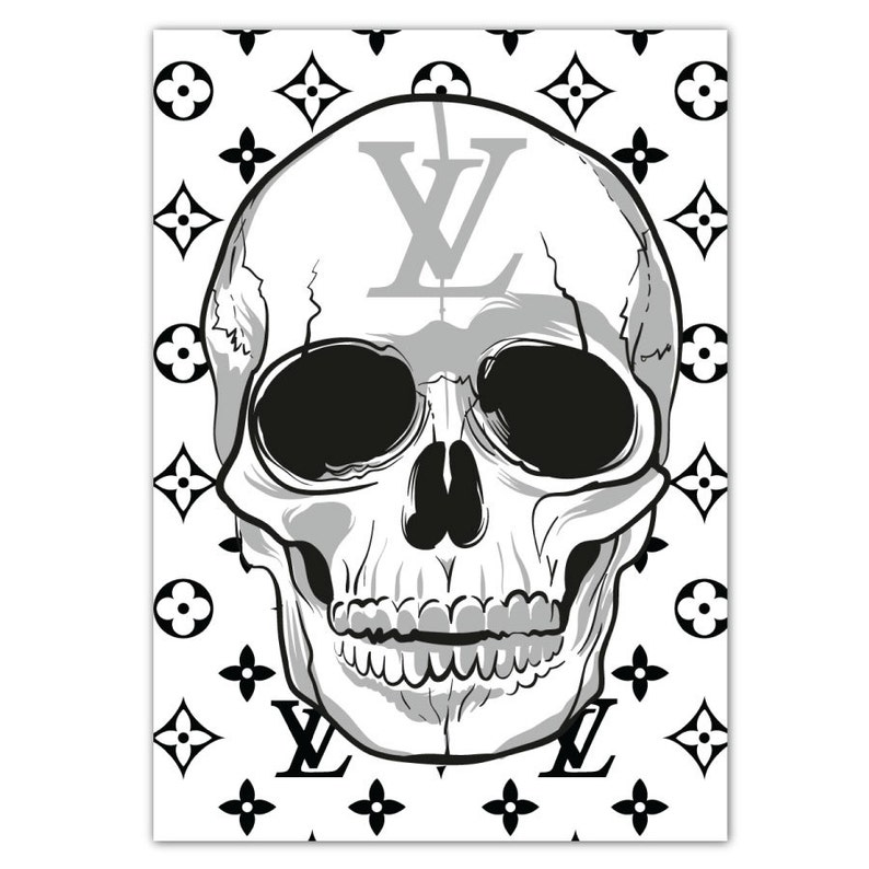 2f88aa551099 Louis Vuitton Skull Poster LV White Poster Fashion Print