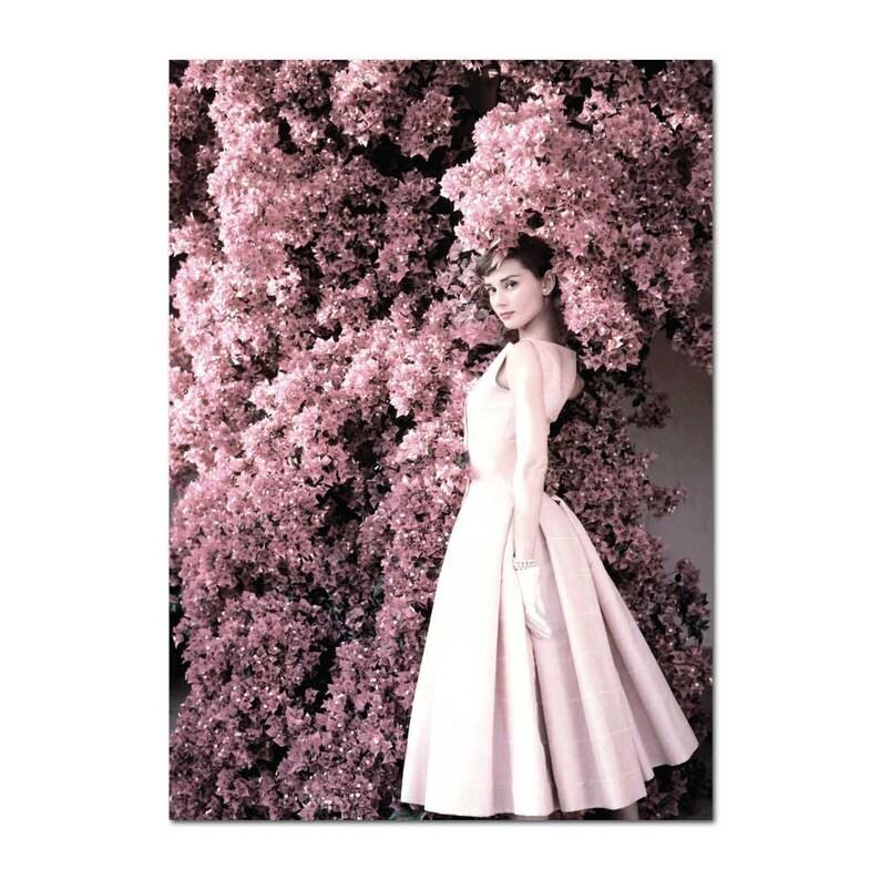 Audrey Hepburn Pink Flowers Blush Pink Rose Hydrangea Peonies Print Scandinavian Art Print Scandi Poster Print
