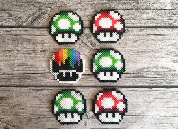 Super Mario Mushroom Perler Bead Pixel Art Video Game Art