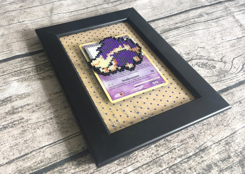 Skuntank Pokemon Card, Framed Perler Bead Pixel Art, Video Game Art
