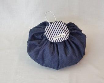Unique Makeup bag, jeans cotton makeup pouch, woman, modern toiletry bag, cosmetic bag, Christmas gift, cosmetics case