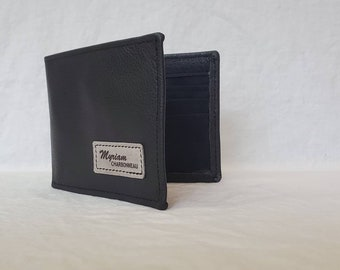 Leather Wallet For Men, Full Grain Leather Bifold, Leather Anniversary Gift, Fathers Day, Handmade Groomsmen Christmas gift black