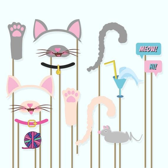 Birthday Party Cat Ears: Cats Photo Booth Props Kitty Ears Kitty Masquerade Kitty