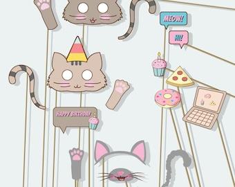 Cat mask, cat birthday, kitty ears, girl party, not pusheen, cat gift, printable cat photo props, girl birthday, cat lover gift
