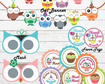 Owl mask, owl birthday banner, owl party set, owl birthday party, owl printable, printable decoration,  owl cupcake toppers