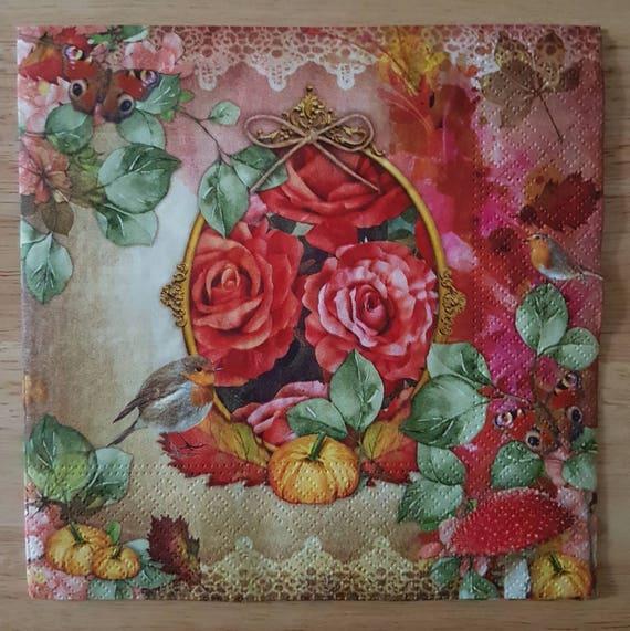 Set Of 4 Autumnal Floral Square Paper Lunch Napkins