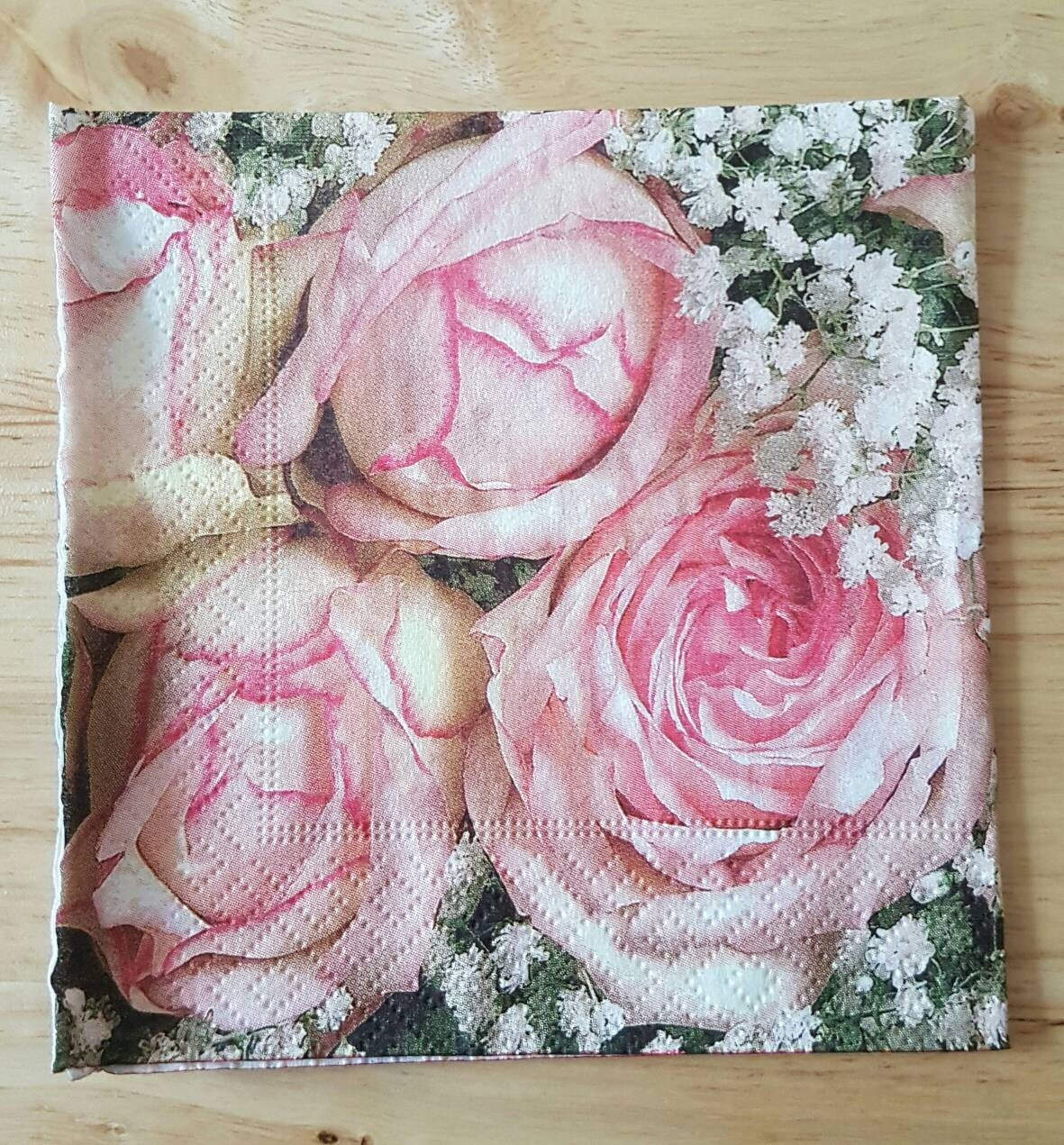 Set Of 4 Pink Roses Shabby Chic Paper Cocktail Napkins