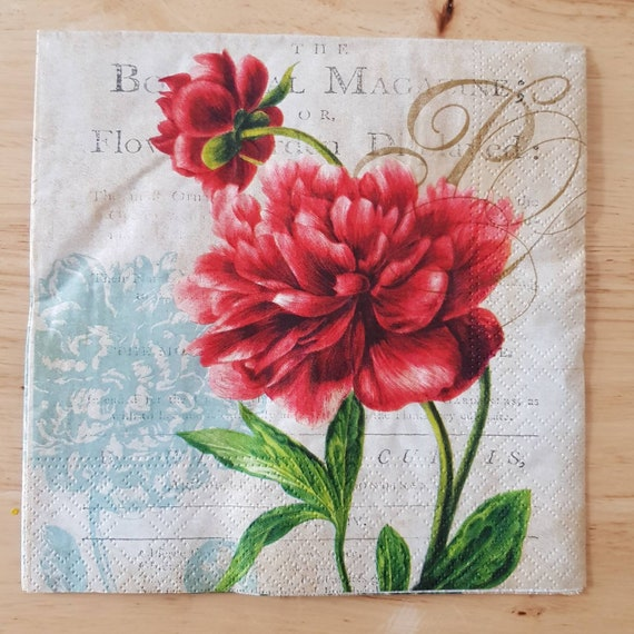 4 x Paper Napkins Decoupage Crafting Table Roses 116