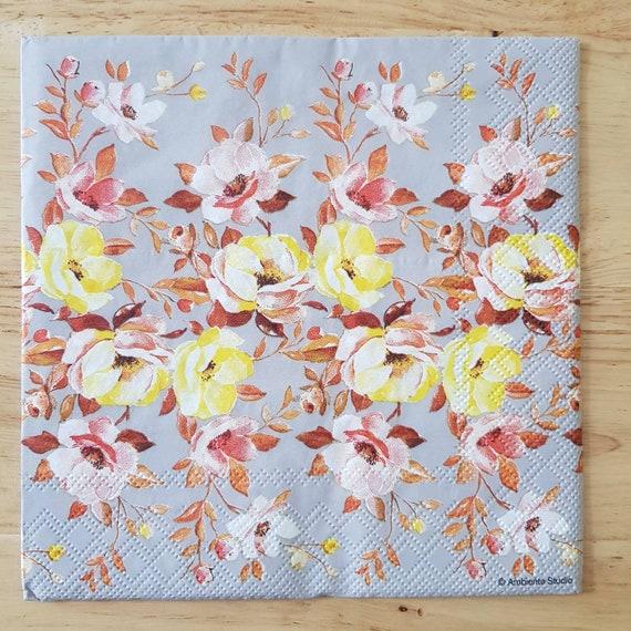 4 Déjeuner serviettes en papier pour découpage Table De Fête Craft argent décorations