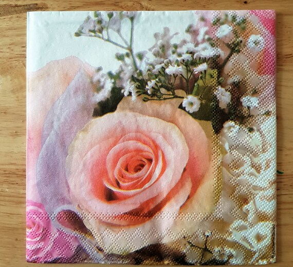 4 Lunch Paper Napkins for Decoupage Party Table Craft Wedding Rings /& Pink Roses