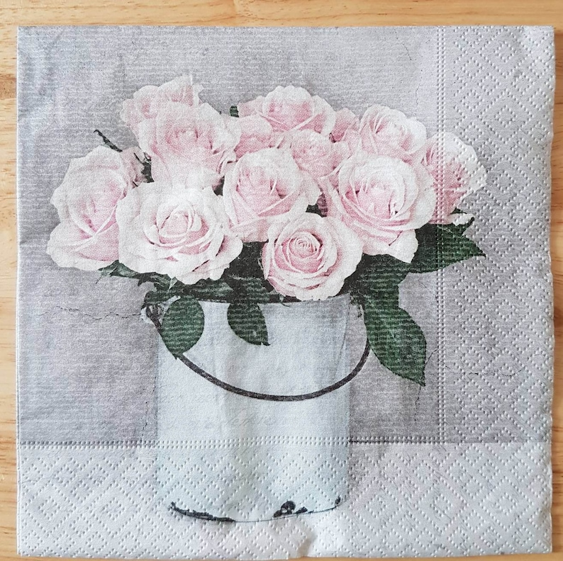 Set of 4 Pink Roses Square Paper Lunch Napkins Decoupage Crafts Collage Scrapbooking  #051