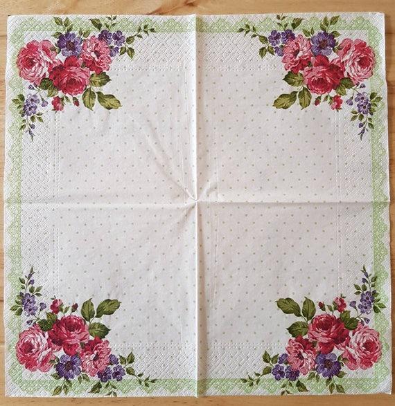 4x Paper Napkins for Decoupage Decopatch Romantic Border