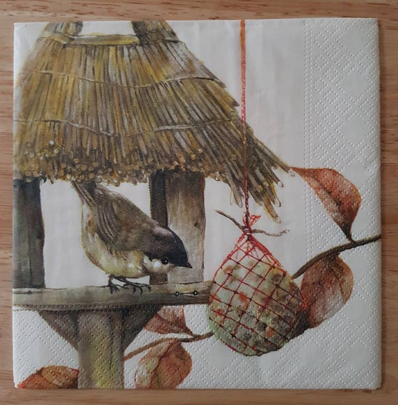 Paper Napkins For Decoupage Set of 4 Birdhouse Square Paper Lunch Napkins  Decoupage Crafts Collage Scrapbooking 133
