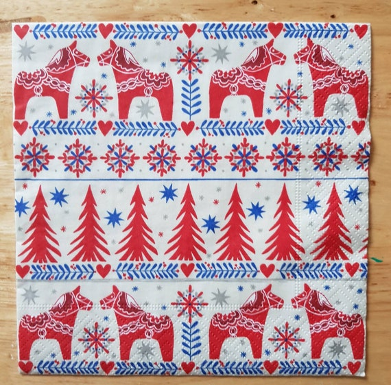 4 Lunch Paper Napkins for Decoupage Table Craft Vintage Napkin Christmas Tree 2