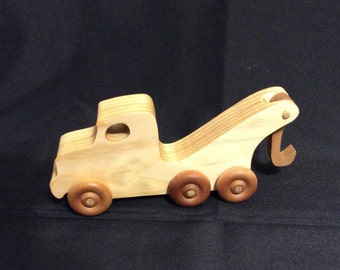 Tow truck, wooden truck, wooden toy, handmade tow truck