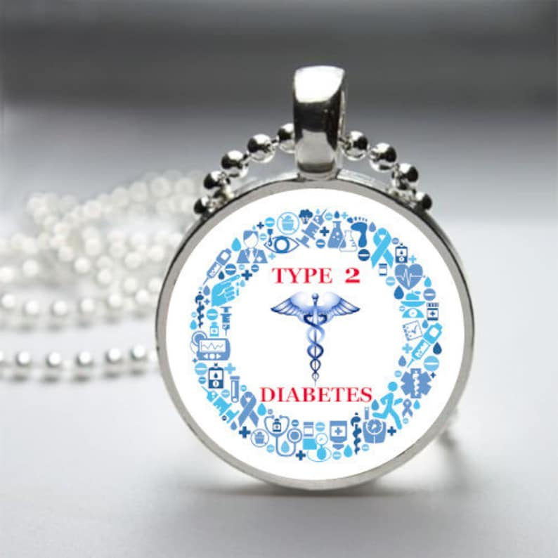 Type 2 Diabetes Medical Alert Necklace or Key Chain
