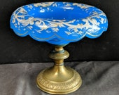 c1870 Blue Opaline Glass Compote with brass base