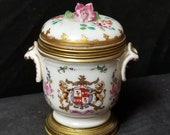 Samson Old Paris Porcelain Armorial Bronze Mounted Inkwell 19th Century Signed