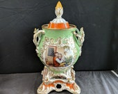 c.1850 Old Paris Porcelain Covered Pokal with Stand Hand Painted Children Flowers 15.25 quot