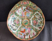Rose Medallion Antique Chinese Shell Shaped Bowl 19th century 10.25 quot x 1 7 8 quot deep.